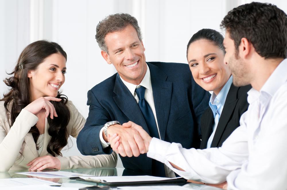 team finalizing a sale