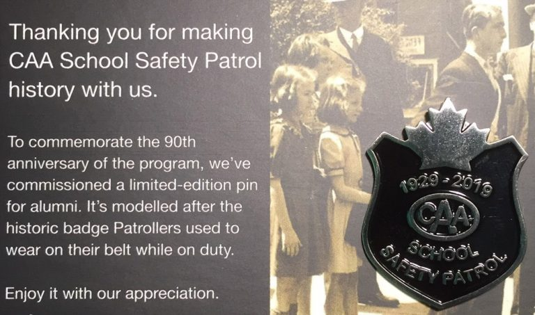 CAA Safety Patrol Recognition letter and pin