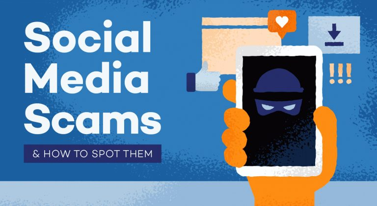 Social Media Scams - drawing of a hand holding a phone